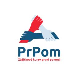 PrPom, s. r. o. — logo — bílá čtvercová varianta