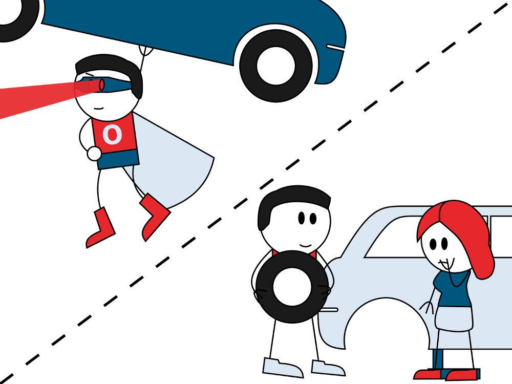 Kdo je opravdový hrdina? Ten, který uzvedne auto, nebo ten, který pomůže u dopravní nehody?